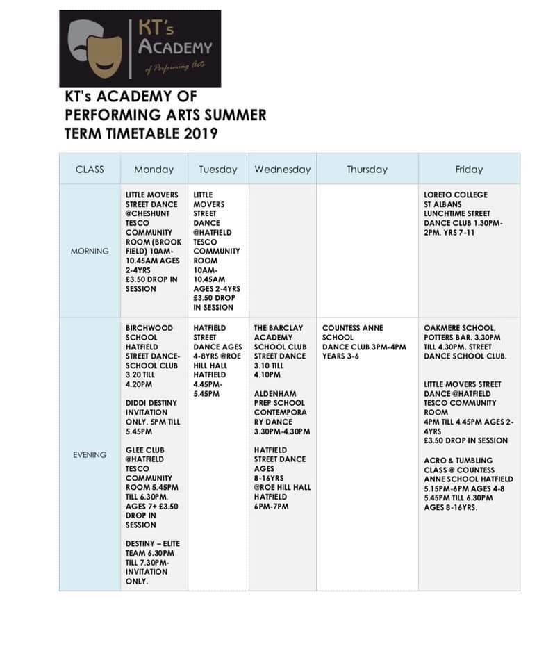 summer term timetable 2019